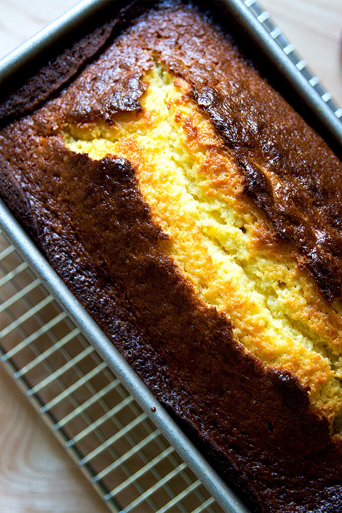 just-baked orange-ricotta pound cake — this is a one-bowl cake, flavored with orange zest and orange liqueur, made with butter (as opposed to oil). It stays moist for days and makes a wonderful gift.