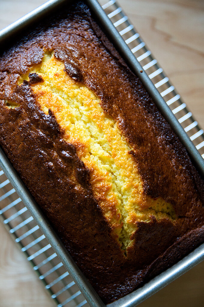 just-baked orange ricotta pound cake