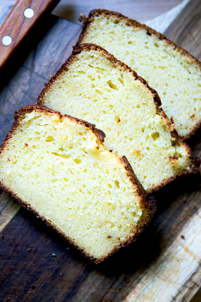 sliced orange ricotta pound cake
