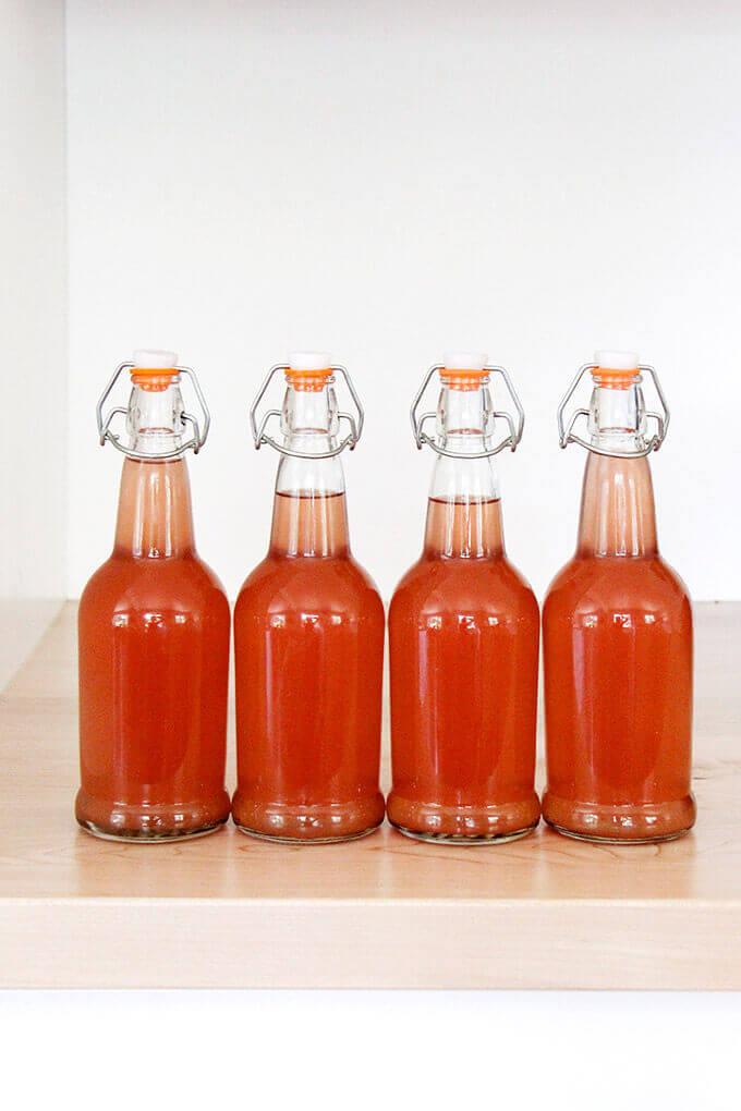 rhubarb schnapps, bottled