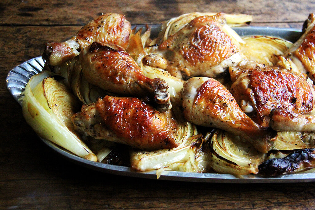 How to make sheet pan roast chicken and cabbage.