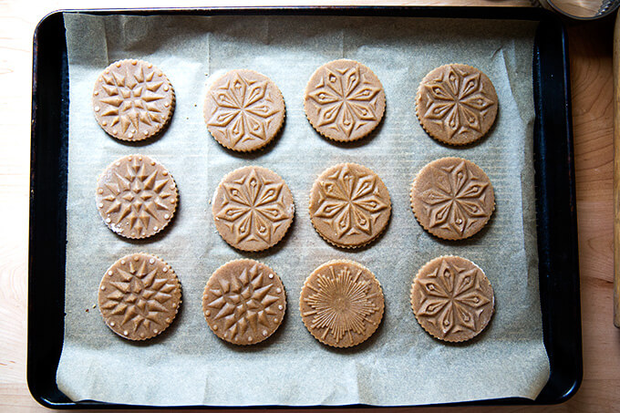 Just baked Stamped spiced brown butter muscovado cookies with maple glaze.