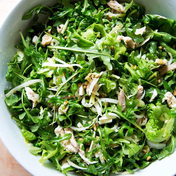 roast chicken arugula salad