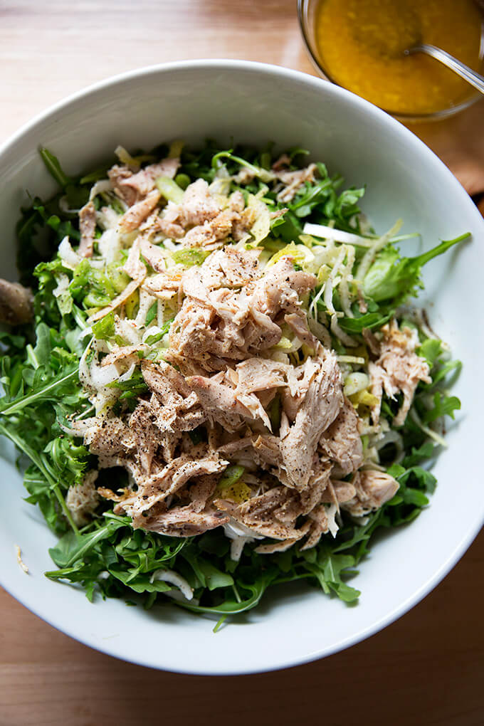 roast chicken arugula salad