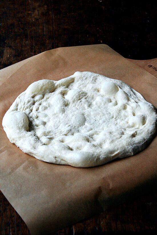 High hydration pizza dough on a pizza peel.