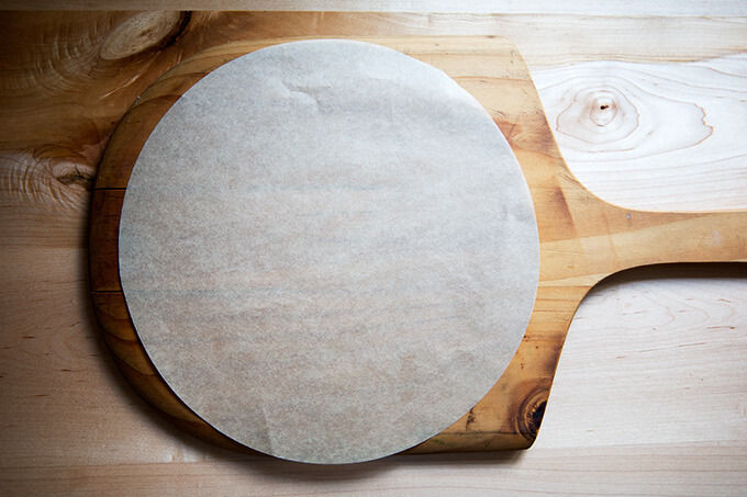 pizza peel and parchment paper