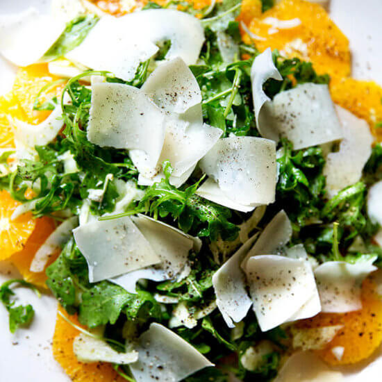 Teri's Sliced Orange Salad with Arugula, Fennel & Shaved Parmesan