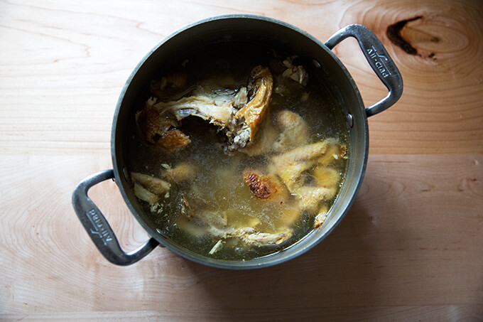 how to make stock from a roasted chicken carcass