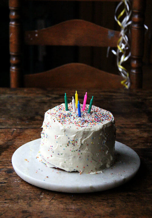One-Bowl Buttermilk Birthday Cake on a cake plate.