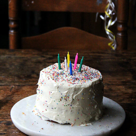 One-Bowl Buttermilk Birthday Cake with Cream Cheese Frosting