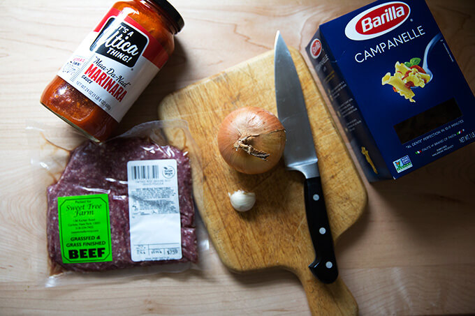 ingredients for the Instant Pot miracle: one pan spaghetti and meat sauce