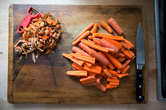 prepped carrots for vegan carrot-ginger soup with curry and coconut milk
