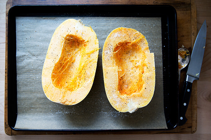 salted and peppered spaghetti squash
