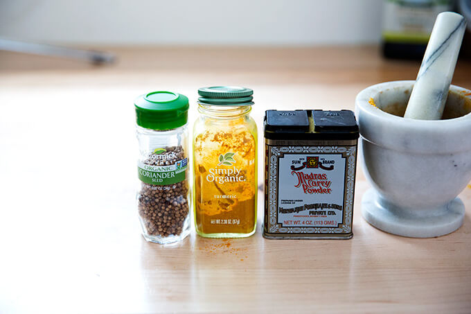 spices: curry, coriander, turmeric
