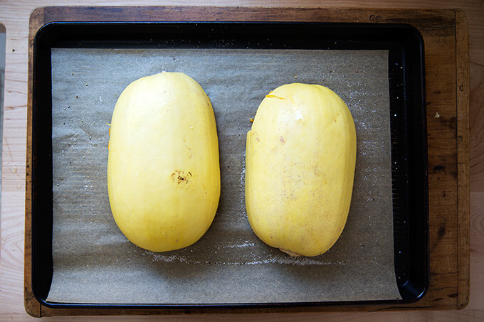 spaghetti squash, ready to be roasted
