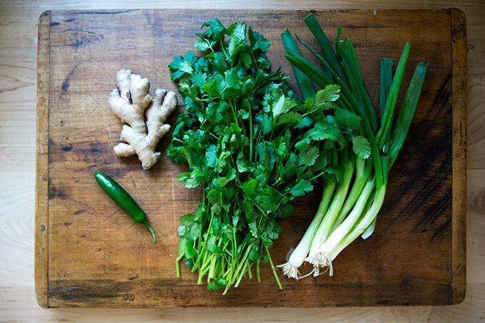 aromatics: cilantro, ginger, scallions, hot chili