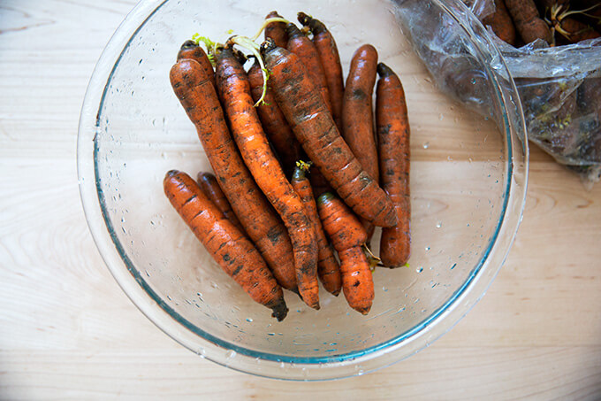 carrots, washed