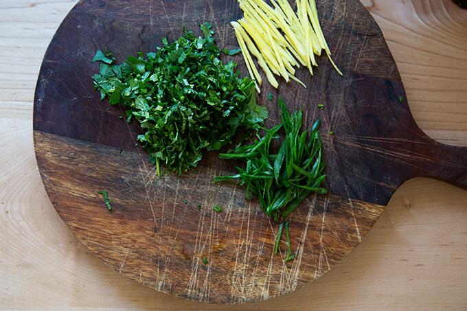 finishing touches: slivered ginger, scallions and cilantro