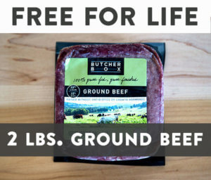 Get 2 lbs. grass-fed ground beef free for life when you sign up for Butcher Box this month, March 2019