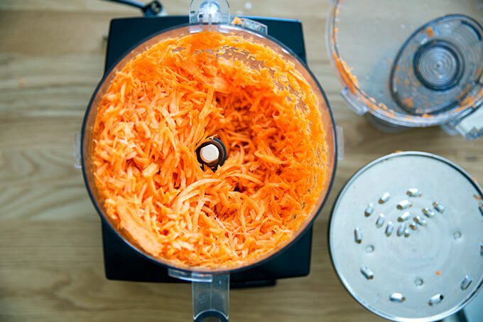 carrots, grated in the food processor
