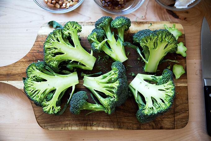 halved heads of broccoli