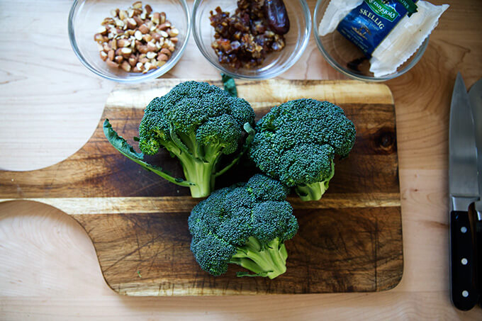 ingredients for charred broccoli salad
