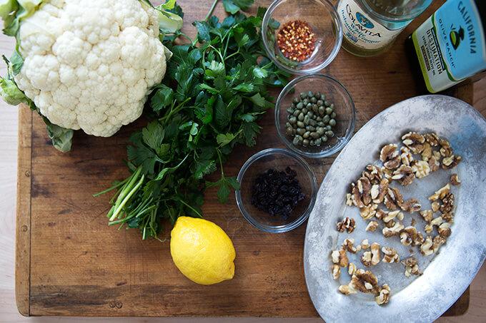ingredients for caper-walnut salsa
