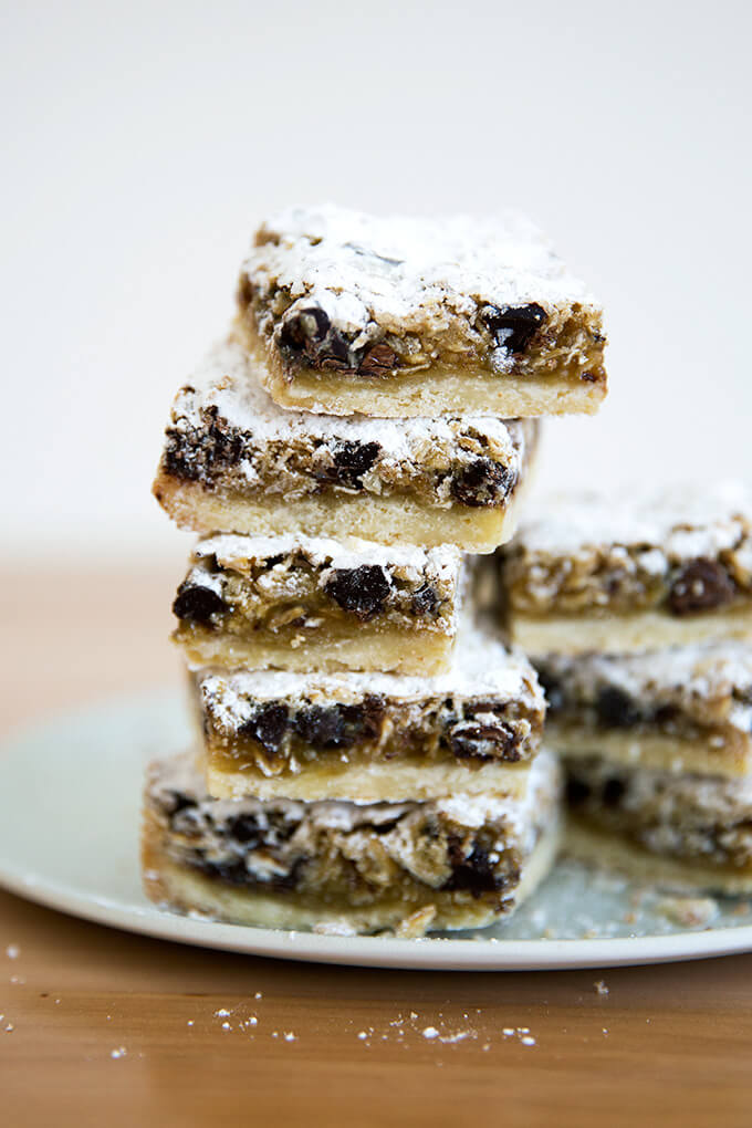 gooey oat bars, stacked vertically