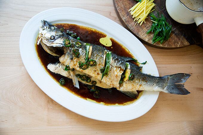 steamed Branzino, oiled and sauced