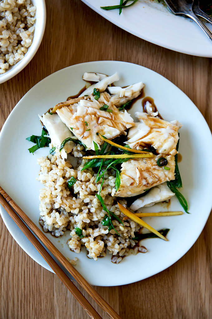 plate of Chinese-style steamed Branzino with brown rice