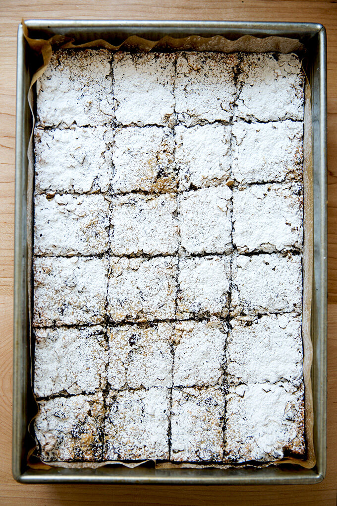 oat bars, powdered sugared, ready for the fridge