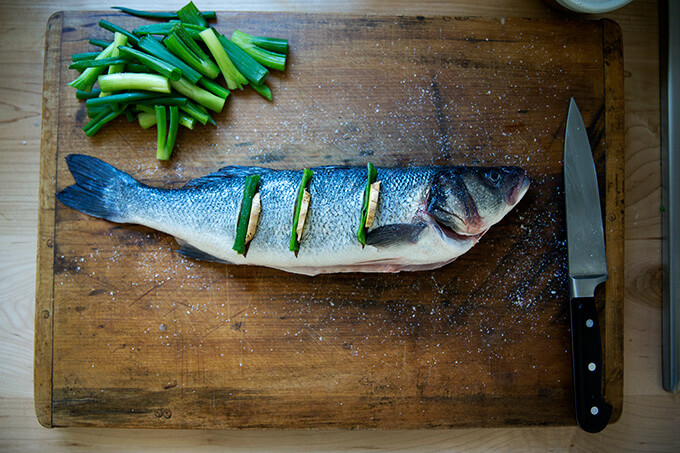 prepping the Branzino for steaming