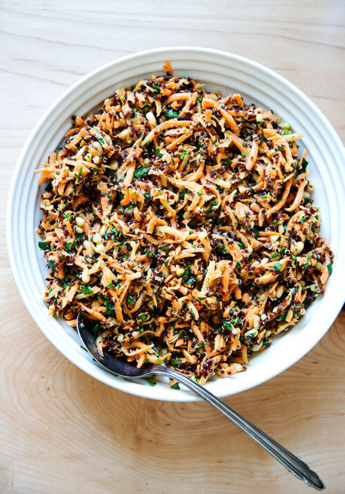 carrot-quinoa salad with lemon-tahini dressing