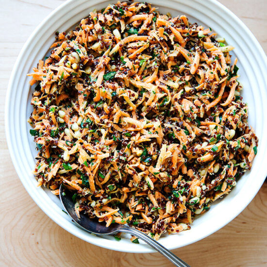 Addictive Carrot-Quinoa Salad with Lemon-Tahini Dressing