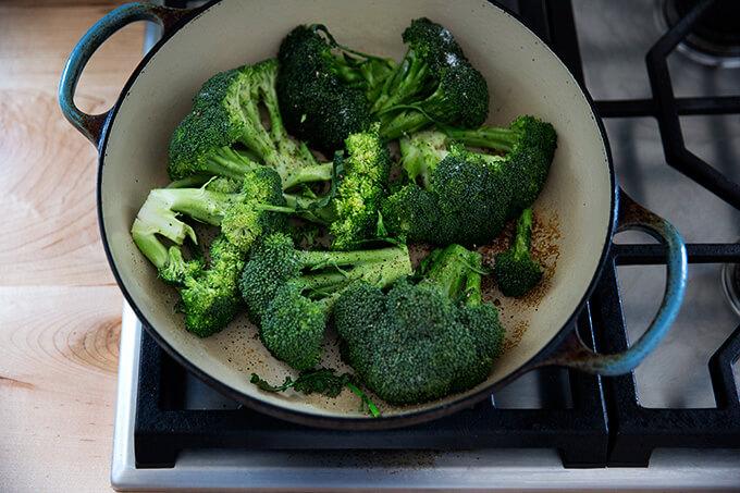 searing the broccoli