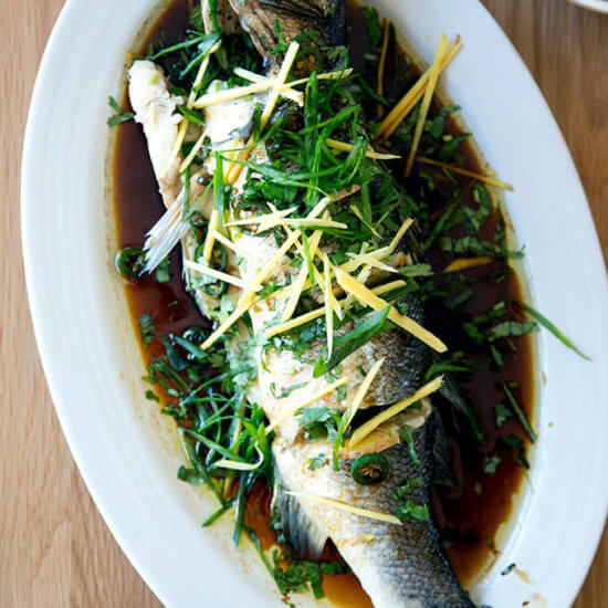Chinese-Style Steamed Whole Fish with Ginger and Scallions