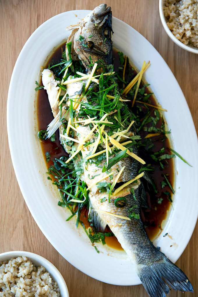 Chinese-style whole Branzino with ginger, scallions and soy sauce