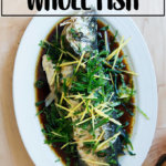 Chinese-style whole Branzino with ginger, scallions, cilantro and soy.