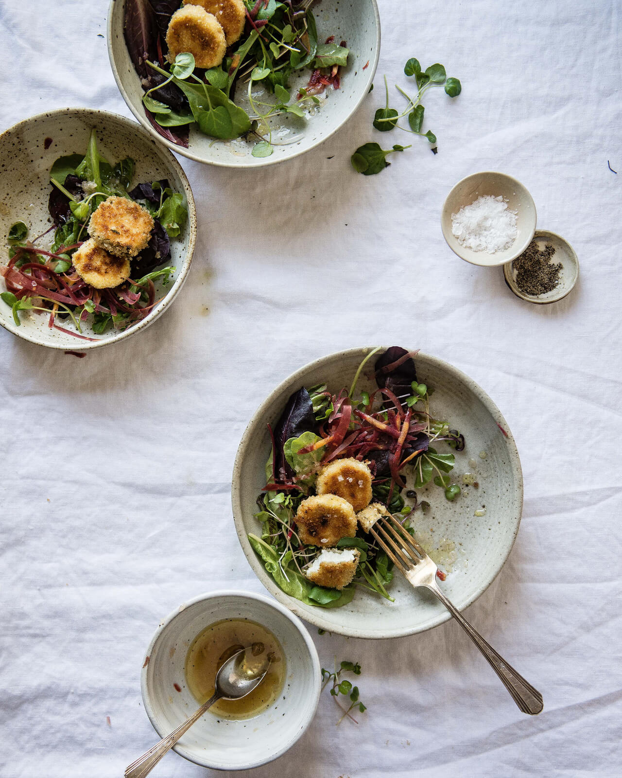 Two Red Bowls' Crispy Goat Cheese Rounds with Shallot Vinaigrette
