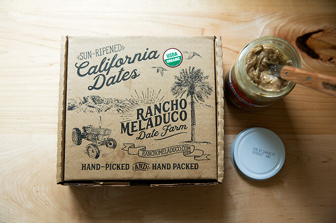 A box of Rancho Meladuco Dates + a jar of almond butter
