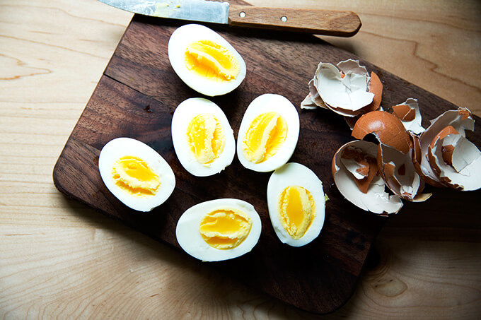Three perfect Instant Pot hard-boiled eggs, peeled and halved.