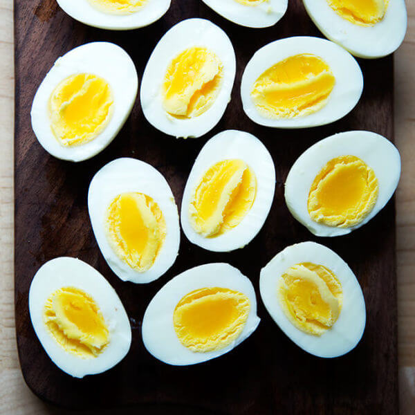 Six Perfect Instant Pot hard-boiled eggs, halved
