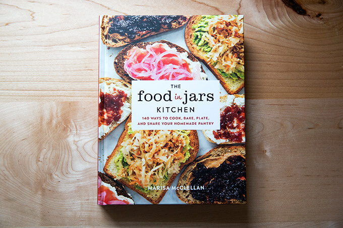 The Food in Jars Kitchen by Marisa McClellan on the counter.