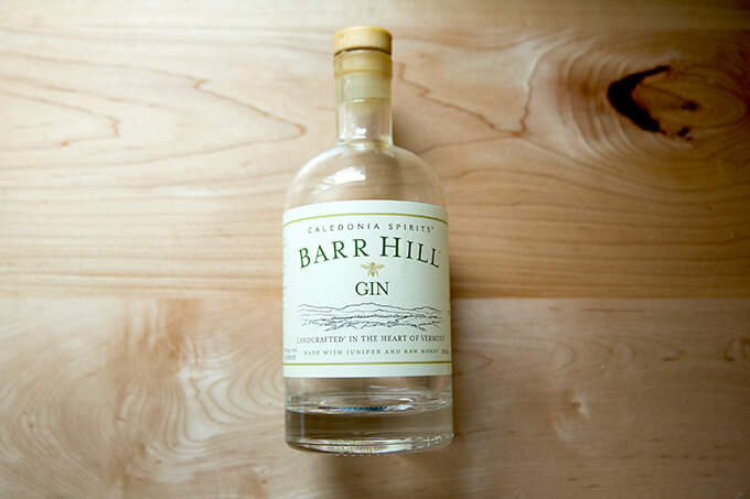 A bottle of Barr Hill Gin.