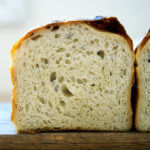 Crumb shot of sourdough sandwich (or toasting) bread.