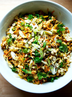 A large bowl of chopped Thai salad satay ready to be served.