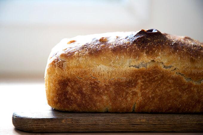 Sideview of sourdough sandwich bread.