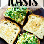 Sourdough toast topped with avocado-egg salad.