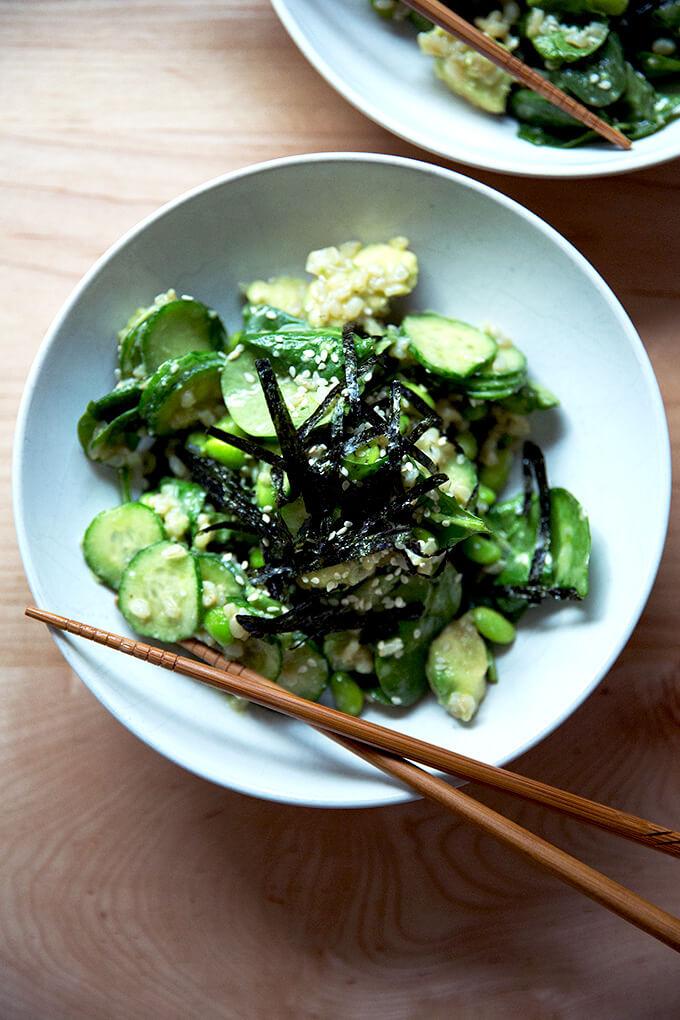 Sushi salad, served.