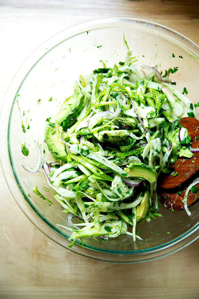 A fennel salad with the avocado added.
